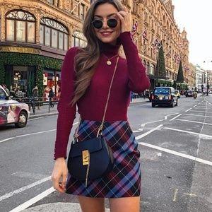 NWT Zara Plaid Mini Skirt Purple 2061/915 Medium M